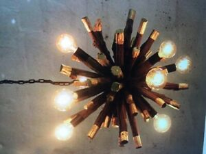 Driftwood Gold Dipped Branch Ball Chandelier Light Fixture Rustic Natural Wood