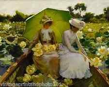 Lotus Lilies by C Curran 8x10 Print Women Boat Pond Water Flowers Parasol 0073