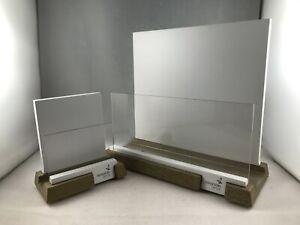 "Pair of Swarovski Optik White Wooden Store Display Stand - Lot Of 2 - 4.5"" & 8"""