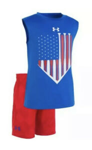 Under Armour Boys Sz 4 Shorts Tank Top Outfit American Flag Patriotic NWT