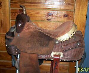 14.5 15 Used Billy Cook Sulphur Oklahoma Barrel Pleasure Trail Saddle No Reserve