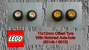 LEGO - Used Condition - 11x12mm Tyre With Notched Axle-hole (6014b)(6015) x 2
