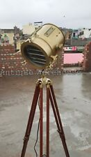 Antique Nautical Spot Light Wooden Tripod Floor Lamp Vintage Marine Searchlight