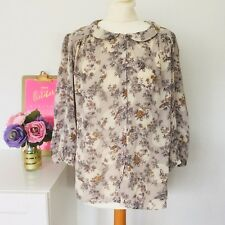PHASE EIGHT Floral Bird Print Smart Work Office Party Casual Top Blouse Sz 16 F7