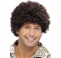 High Quality Mens 70s Disco Dude Afro Wig Brown Boogie Night Fever Fancy Dress