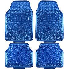 4pc Rubber Vinyl Floor Mats Metallic Shiny Blue Front & Rear Heavy Duty