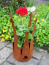 Couronne H.30 àBac à plantes Cache-pot Métal Rouille Patinée Figure de jardin