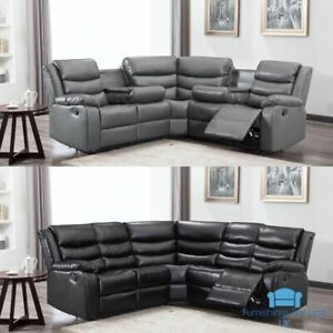 *** BRAND NEW*** Modern Grey or Black Leather Corner Recliner Sofa Cup Holders