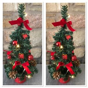 2 X Mini Christmas Trees Decorated with Baubles, Bows and Lights 45cm Desktop