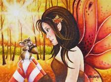 40% OFF SALE! ACEO Limited Edition Print Pixie 3 Autumn Mouse Acorn Fairy Art