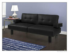 Modern Futon Sofa Bed Mainstays Faux Leather Armrests Sleeper Futons Beds, Black