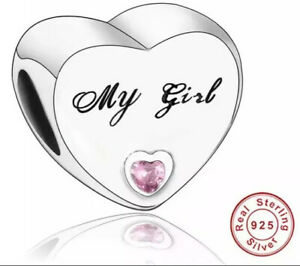 MY GIRL CHARM WITH PINK CZ GENUINE 925 STERLING SILVER GIFT 💜💛💜