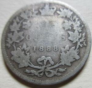 1888 Canada Silver Twenty-Five Cents Coin. RARE DATE. (UJ8)
