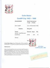 COLIN BAKER CARDIFF CITY 1953-1966 ORIGINAL HAND SIGNED CUTTING/CARD