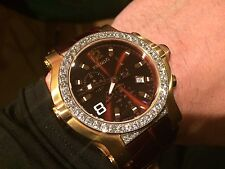RENATO TREX 5 CT. DIAMOND SWISS ROSE GOLD & CROCODILE BROWN DIAL WATCH L.E.150
