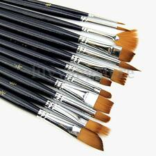 12Pcs Artist Paint Brush Set Nylon Hair Watercolor Acrylic Oil Painting Supplies