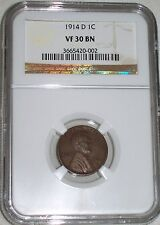 1914-D Lincoln Cent NGC Graded VF30 BN   KEY DATE ! LOW MINTAGE ! RARE !