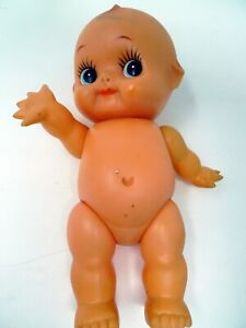 "VTG 8"" Rubber Squeaker Nude Baby Kewpie Doll Toy 80's Japan Arms Legs Move"