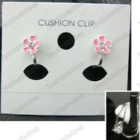 PINK DAISY CLIPS flower SILVER PLATED clip on EARRINGS small fake studs DAISIES