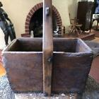 Antique ASIAN CHINESE Wood Rice Grain Gathering HARVEST BUCKET w Blk Flowers