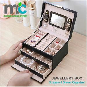 Jewellery Box With Mirror Girl 2 Drawer Organiser Ring Earring Storage Lock Case