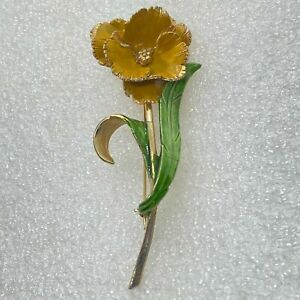 Vintage FLOWER BROOCH Pin Yellow Green Enamel Gold Tone Costume Jewelry