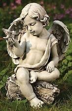 "12"" Cherub Angel Sitting On Log with Dove Outdoor Garden Statue Yard Decor 60423"