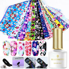 16Pcs Flower Nail Foil Stickers Transfer Decals+3D Transfer Printing Nail Gel