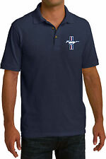 Mens Pique Polo Shirt Ford Mustang The Legend Lives Crest Pocket Print