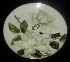 HAVILAND LIMOGES HAND PAINTED PLATE LARGE WHITE ROSES THORNY STEMS SIGNED 1876