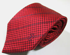 Louis Vuitton LV Plaid Checks Pattern Red Color Silk Necktie Tie Made In Italy