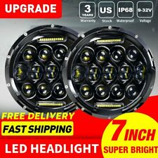 "Pair 7"" Round LED Headlights Lamp w/ DRL For Jeep Wrangler JK JKU TJ CJ LJ"