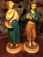 Antique Italian Borghese Chalkware Plaster Boy & Girl Couple Colorful Figures