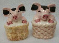 Large Ceramic Pigs in Baskets Farmhouse Country Salt and Pepper Shaker Set Euc