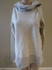 NWT by PINK LOTUS Long Sleeved Striped Cowl Neck T-Shirt $89 Women's Size Medium