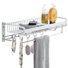Bathroom Shower Shelf Shampoo Basket Storage Rack Towel bar hooks Space aluminum