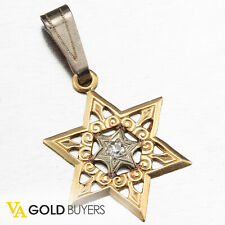 1970's Estate Retro 14k Yellow Gold Star of David with Diamond Center Accent