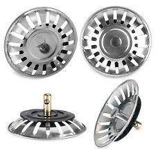 2x Kitchen Waste Stainless Steel Sink Strainer Plug Drain Filter Basket Drainer