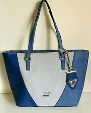NEW GUESS BELL FOX COLLECTION BLUE SLATE GRAY MEDIUM SHOPPER TOTE BAG PURSE SALE