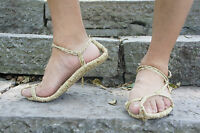 Vintage Casual Handmade Unisex Natural Straw Woven Straw Shoes Sandal