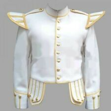 White Fancy Doublet Piper military Jacket with Gold Trim available in all sizes
