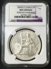 1896A FRENCH INDO-CHINA PIASTRE DE COMMERCE COIN KM#5a.1 SILVER UNC NGC