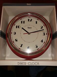 Retro Vintage Round Wall Clock Kitchen Diner Room Home Decoration Red