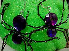 UNIQUE BIG Purple SPIDER Beaded Leg Handcrafted 925 EARRINGS HALLOWEEN nora winn