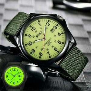 Portable Men's Military Army Canvas Calendar Analog Quartz Sports Wrist Watches