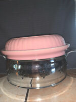 Vintage Hall China Pink Casserole Dish with Metal Decorative Holder
