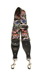 $895 Valentino Rockstud Camu Butterfly Embroidered Canvas Guitar Bag Strap Army
