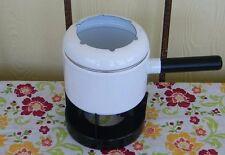 Vintage White Enamelware Enamel Ware Fondue Set Pot 20116