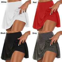 Women Tennis Skirts Solid Shorts Yoga Fitness Pleated Running Outfit Maxi Casual
