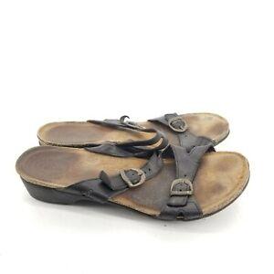 B48 TAOS Duece Sandals 42 9.5 Black Buckle Full Grain Leather Cork Slide